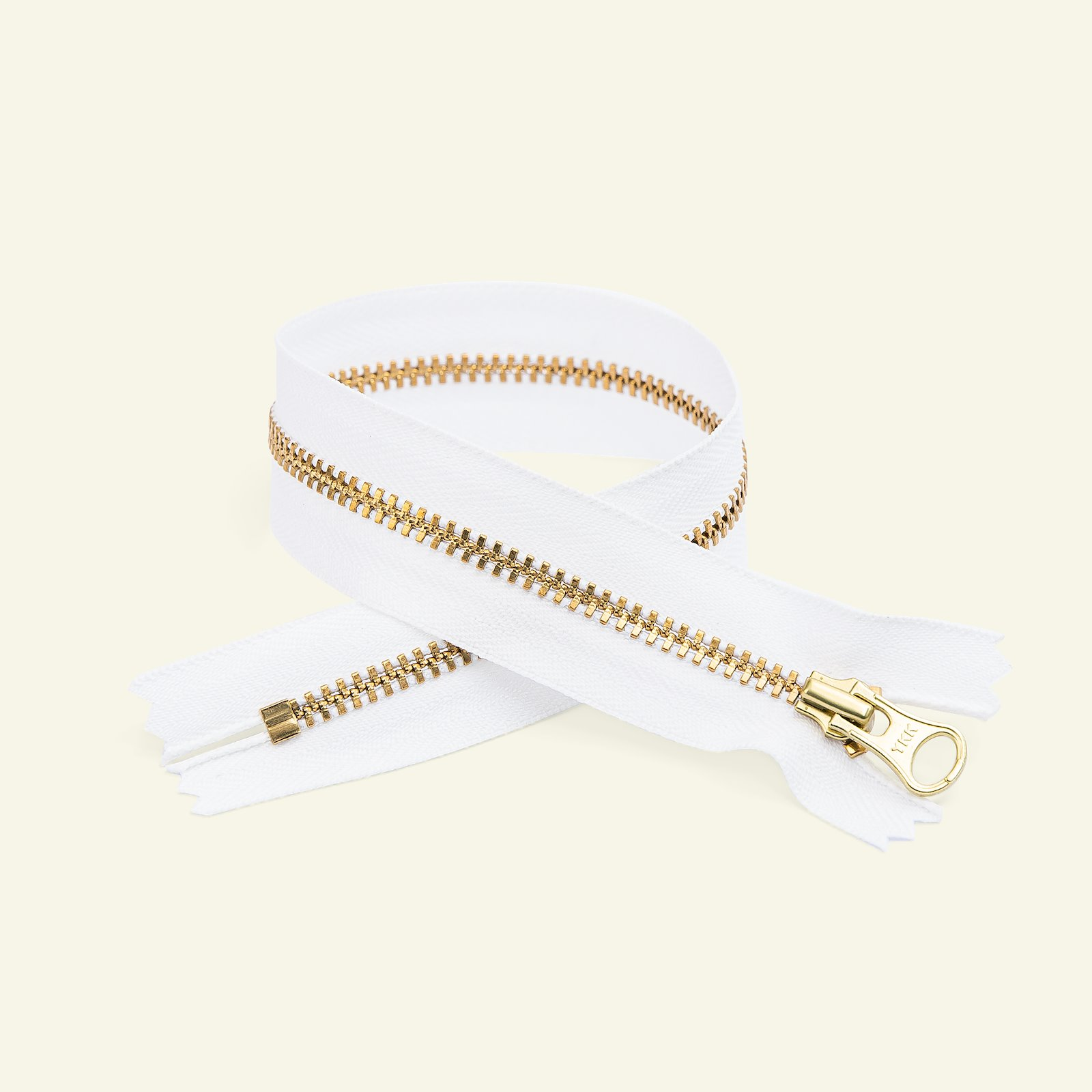 YKK zip 4mm closed end 25cm white/gold x59601_pack