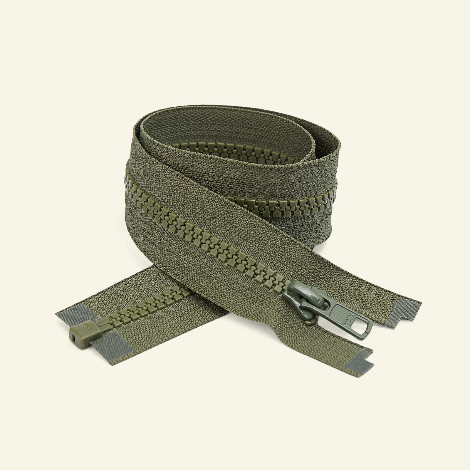YKK zip 6mm open end 80cm army x50033_pack