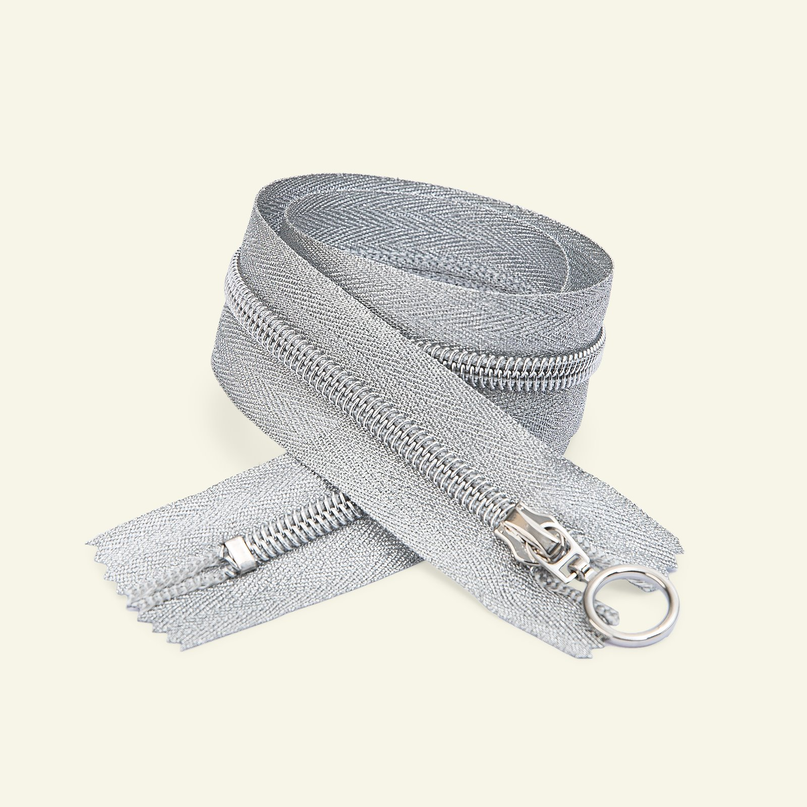 Zip 6mm closed end 40cm silver lurex x48180_pack