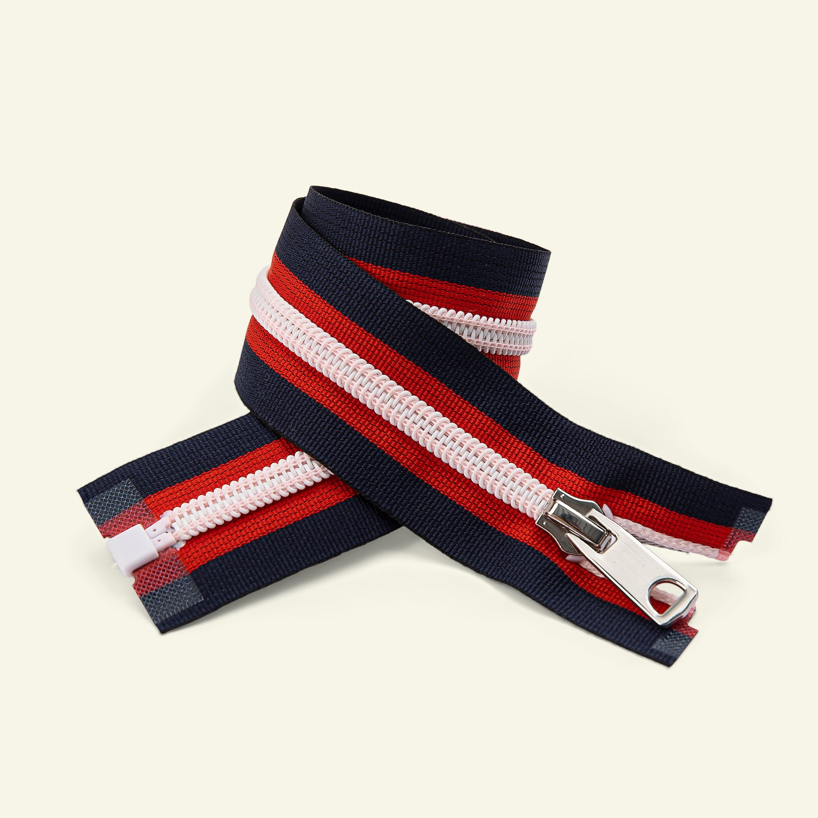 Zip 6mm open end 45cm navy/red/white x47061_pack