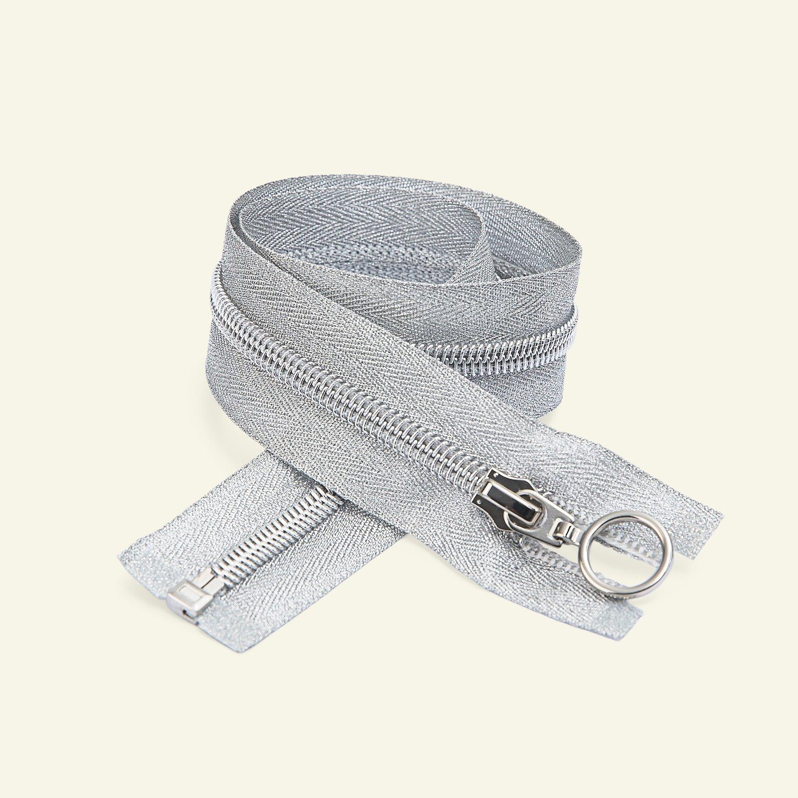 Zip 6mm open end 60cm silver lurex x48080_pack